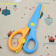 Colored Anti-pinch Flat Side All Plastic Kids Scissors For Kids with ABS Blade and Handle