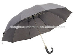10 ribs 2 folding men umbrella auto curved with gird/houndstooth/flower prints