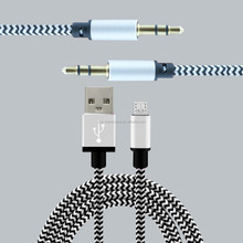 2in1 Braided usb cable and aux cable for iphone iPad Samsung
