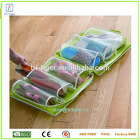 100% Polyester 6 Clear Pocket Under Bed Shoe Storage Hanging Travel bag with Shoe Compartment