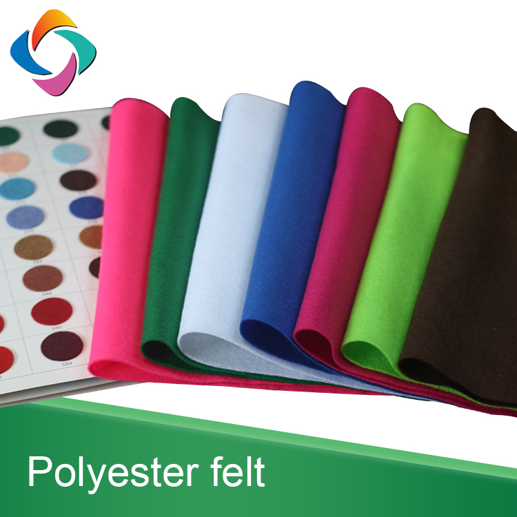 Colorful needle punched soft version non-woven 100% polyester felt fabric