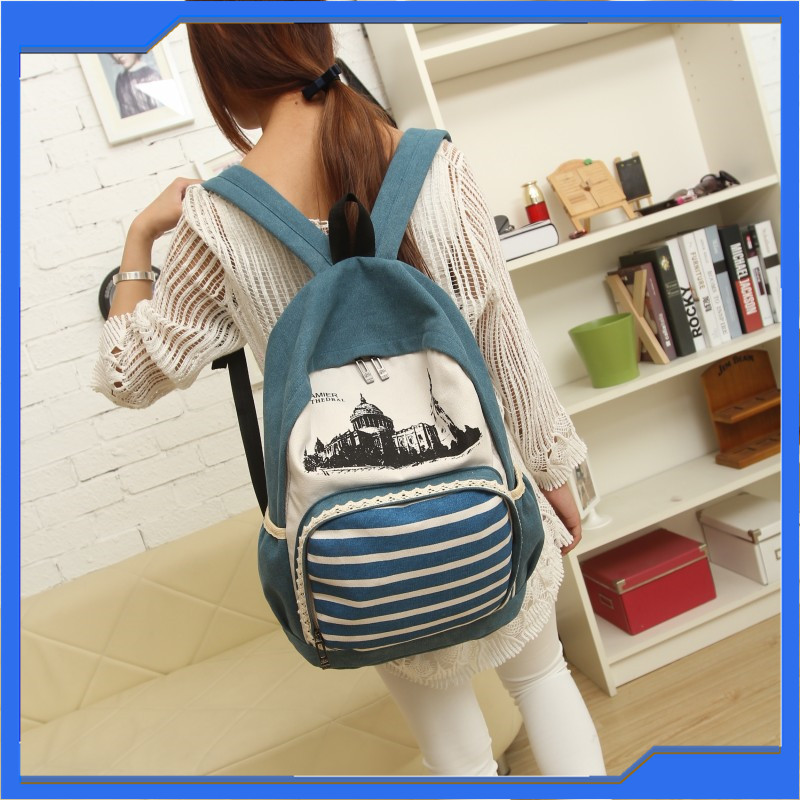 Hot Sale Product Pale Bluish Green Print Backpack Funny New Design Canvas Schoool Backpack for University Students Girls Boys