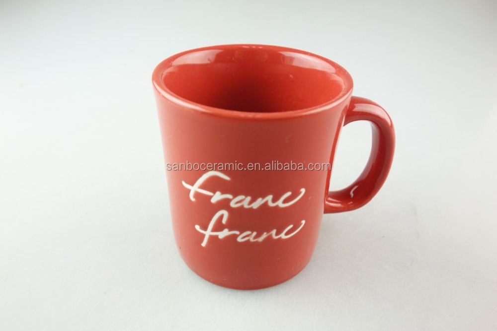 cheap red color full printing 10oz bulk ceramic coffee mugs