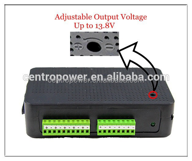 Adjustable Voltage Power Supply 10A DC 12V 9 Port UL Listed Stackable Power Distribution Unit 12V DC Power Adapter