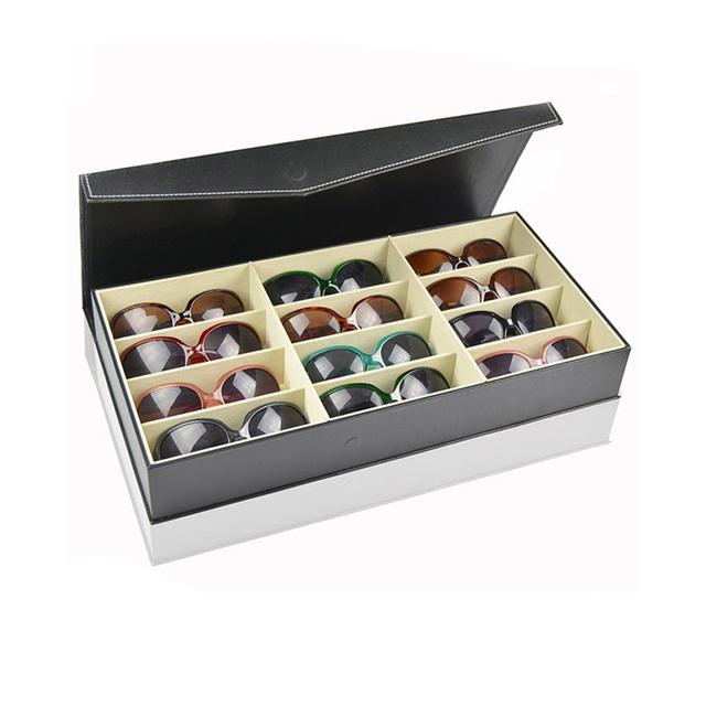 Custom Large Storage Leather Sunglass Box Eyewear Organizer Case