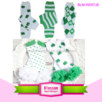 Cotton knitted baby striped leg warmer quatrefoil st patrick's day leg warmers for kids