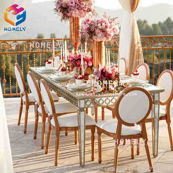 hotel banquet metal rectangle tempered glass top crystal wedding dining tables and chairs for sale