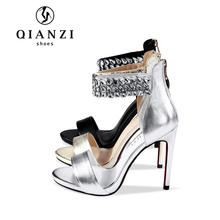 Ladies party wear ankle strap diamond pencil high heel sandals, new model women sandals