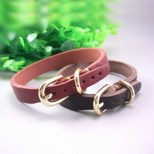Handmade Band 1.6/2.1cm Durable Cow Leather Pet Dog Collar For Small Dogs
