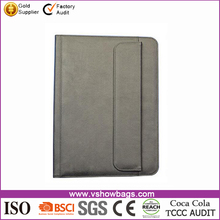 long strap covered gray pu leather portfolio with tiny pocket and caculator