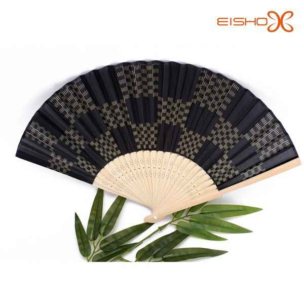 cheap black bamboo silk hand fans