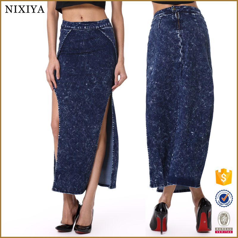 Check out Kosher Casual's modest yet modern long denim A-line skirt for women.