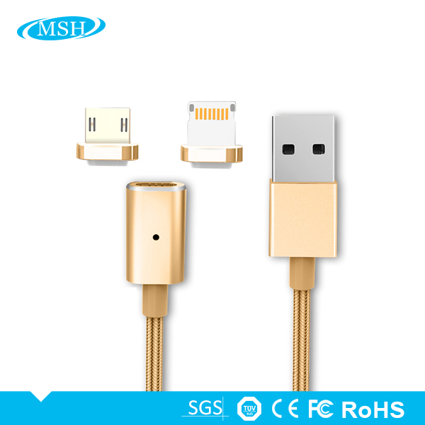 Customized Quick Charge 2.4A Micro 2 in 1 Micro USB Charging Cable Magnetic Adapter Charger For iPhone or Android