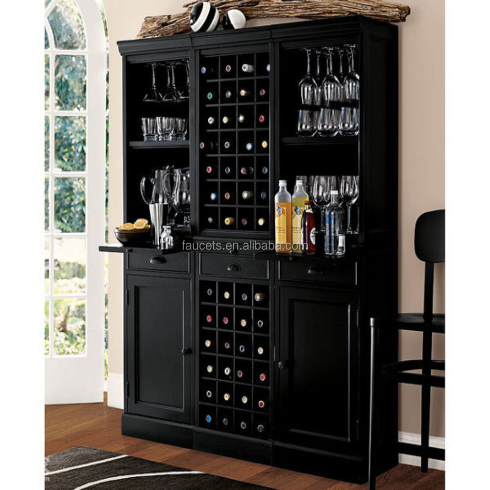 Black Polished Antique Home Furniture Special Wine Display Cabinets