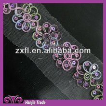 Rainbow Cord Hologram Sequin Flowers Lace Trim Venice