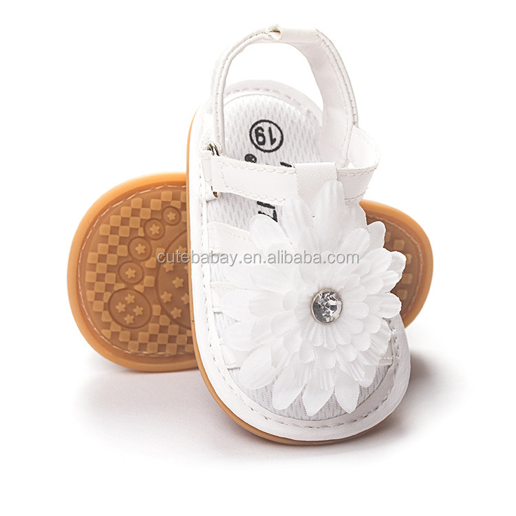 White baby sandal with flower infant sandal baby shoes