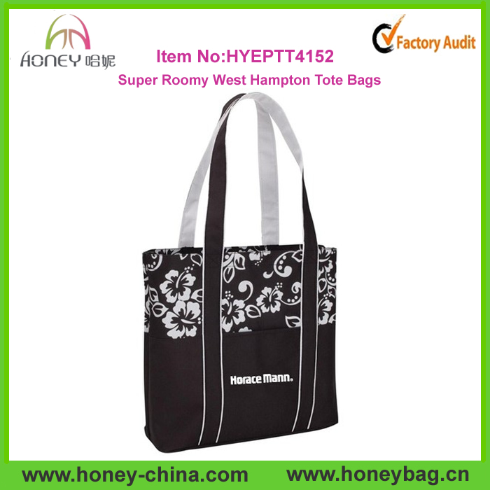Polyester Super Roomy West Hampton Customized Reusable Seaside Tote Bag Shoping Bag