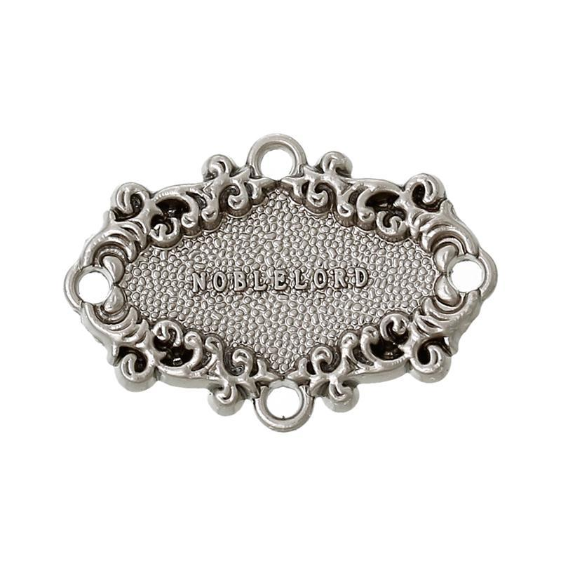 Oval Silver Tone Message Pattern Garment Accessories Zinc Metal Alloy Leather clothing/Jeans Label