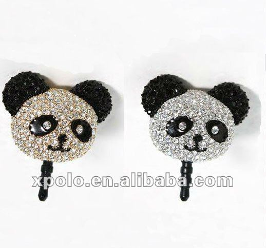 Cartton Panda Head Earphone Jack Dust Plug For Cell Phone