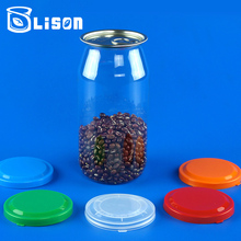 Clear Round Shape 720ml Easy Open Plastic Tea Can For Pet Food Storage