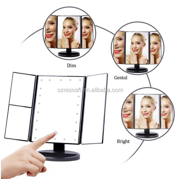 Top Mirror Table Mirror For Makeup LED Trifold Light Up Your Beauty Dimmable Cosmetic Vanity OEM / ODM Mirror Make up Tools