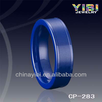 Fashion design women blue ceramic ring in jewelry center brushed
