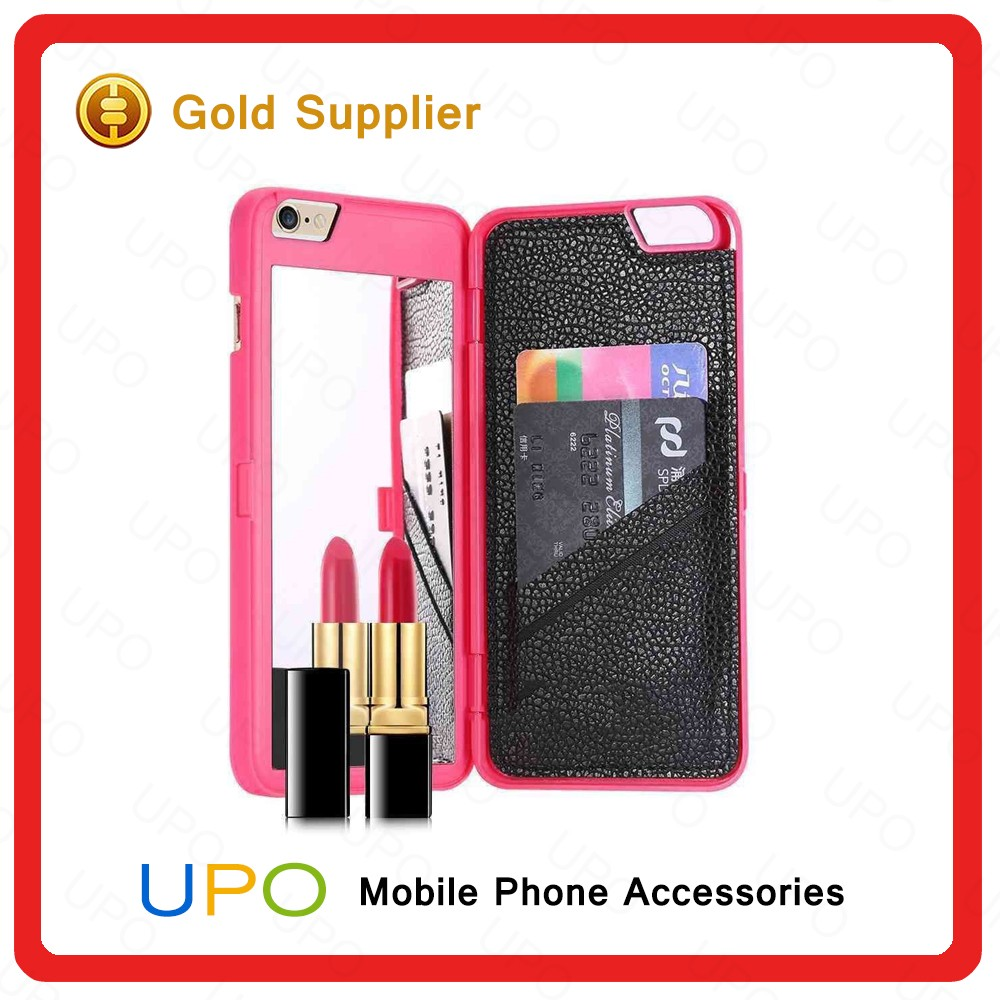 [UPO] New Product Lady Cosmetic Make Up Shockproof Leather Mobile Phone Cases for Apple iPhone6 6s Plus with Mirror Card Slot