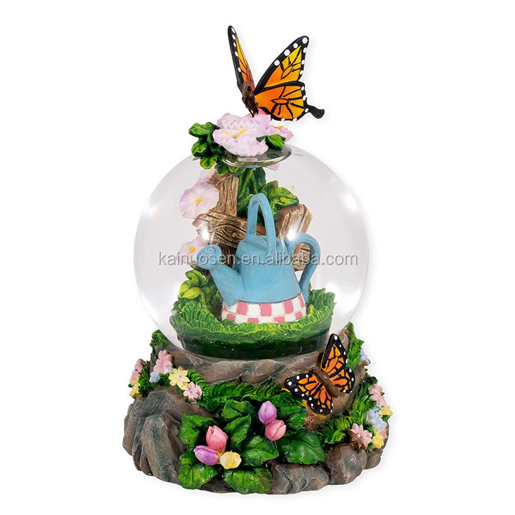 Personalized Handmade Color Painted 3D Resin Butterfly Water Globe