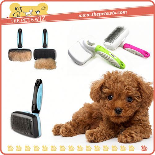 Dog rubber brush ,CC331 pet dog self cleaning slicker brush for sale