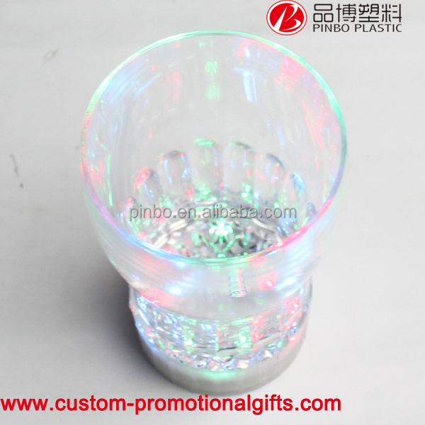 200ml acrylic glowing cup,custom promotion led flashing led glowing beer cup