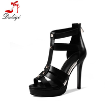 2018 wholesale top sale luxury and fashion genuine leather black and sliver women high heel waterproof monogram sandals shoes