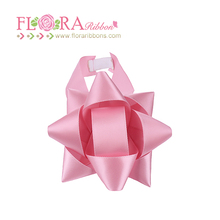 Wholesale polyester satin ribbon decorative gift star bows in pink