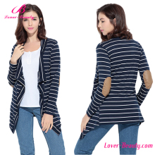 New style blue jacket open front lady blouse