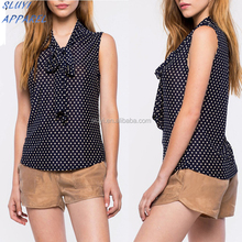 Polka Dots Tops Fashion Casual Slim Sleeveless Chiffon Blouse Women ladies Designer Clothing ladies kurta blouses