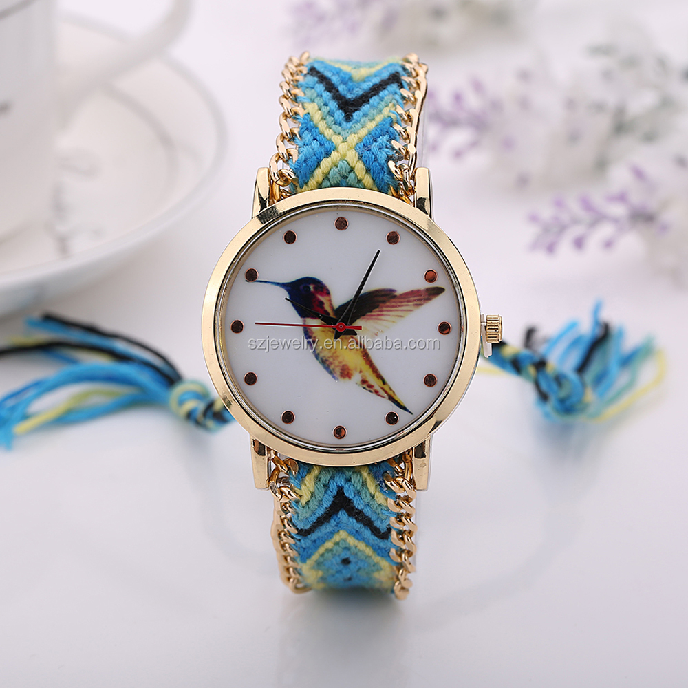 Fashion Popular In The Market Nylon Band Round Face Wrist Watch Women