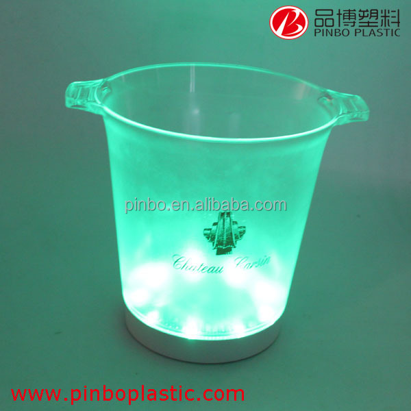 high quality ice bucket with led light,wholesale custom beautiful color led ice bucket,plastic ice bucket for beer