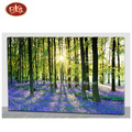Nice Spring Design Forest Sunset/Sunrise  LED Lighted  Wooden Canvas Painting for Home  Decoration