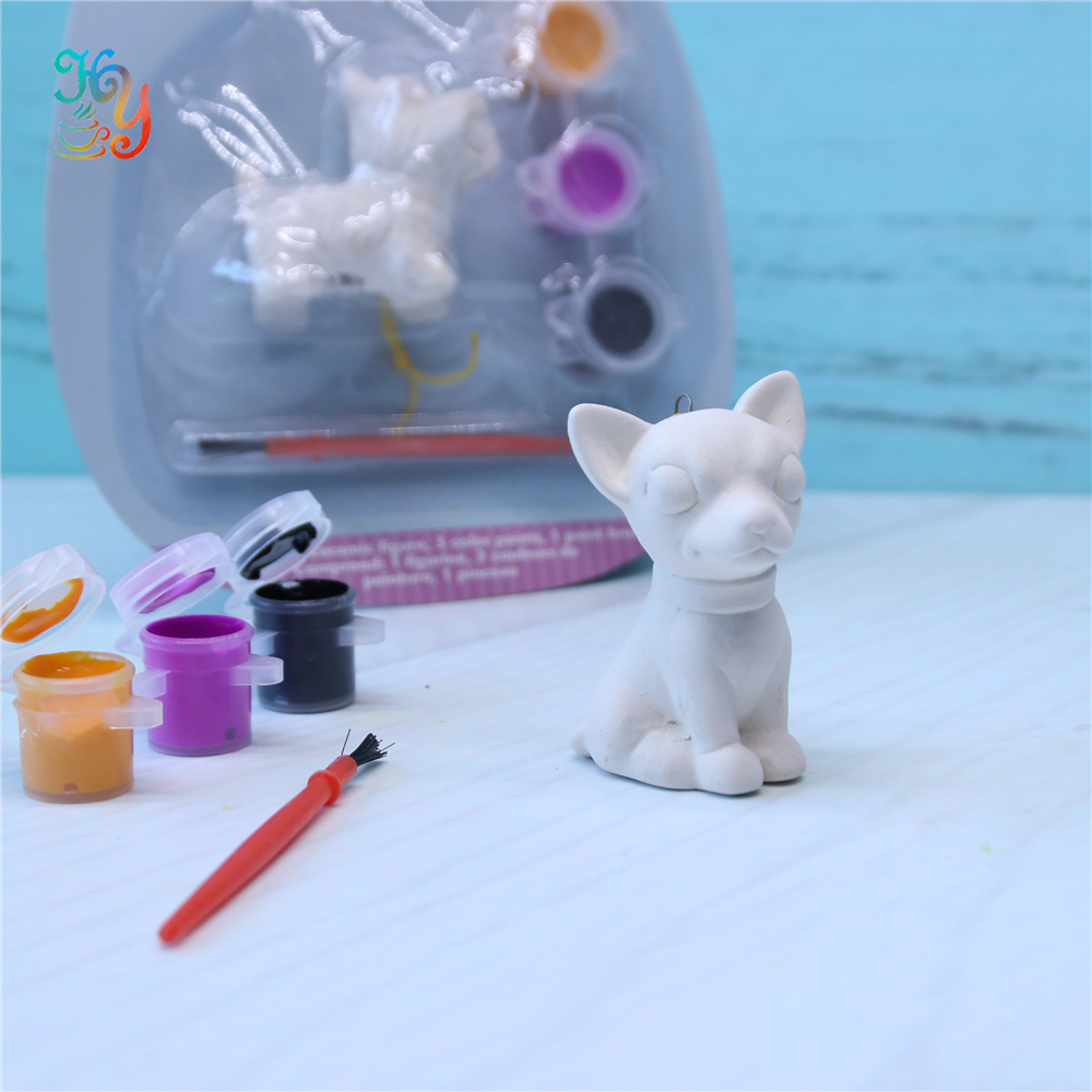 White ceramic dog hanging ornament diy painting bisque for gift