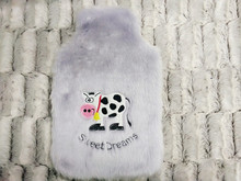 cow embroidery Light purple color faux fur hot water bottle/ bag cover