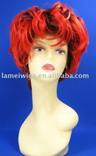 burgundy color afro curly cheap synthetic hair wigs with side swept bangs