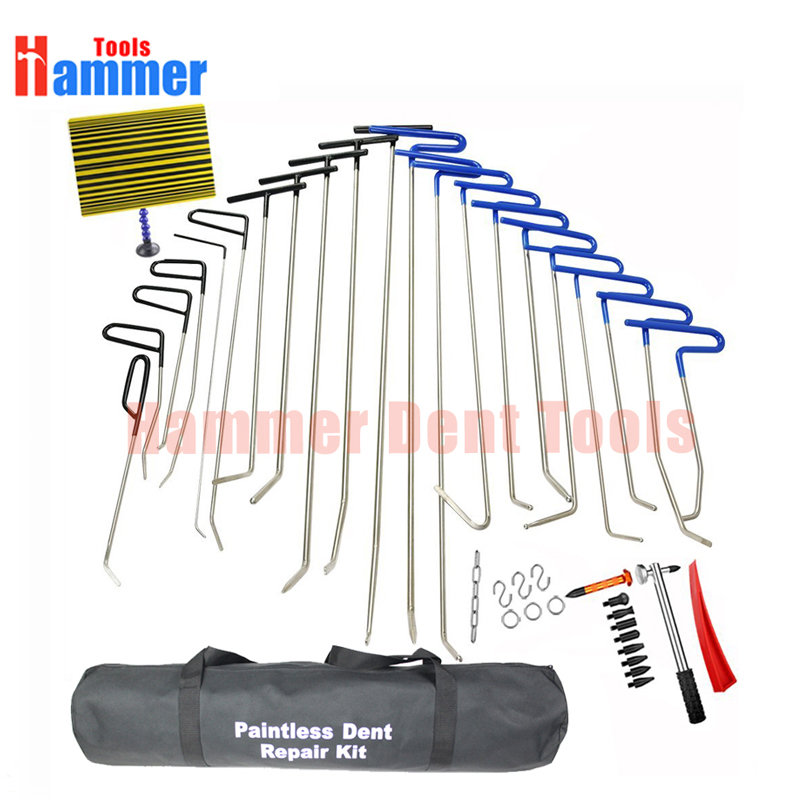 42Pcs PDR Rods Dent Remover Tools Paintless Dent Repair Tools PDR Tools Kit Hail Damage Removal Car Ding Dent Repair Kit