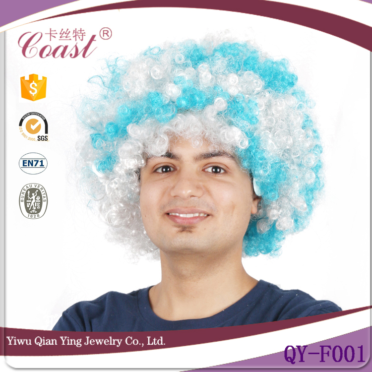 world cup football sports cheap wholesale white and blue synthetic fan hair wigs