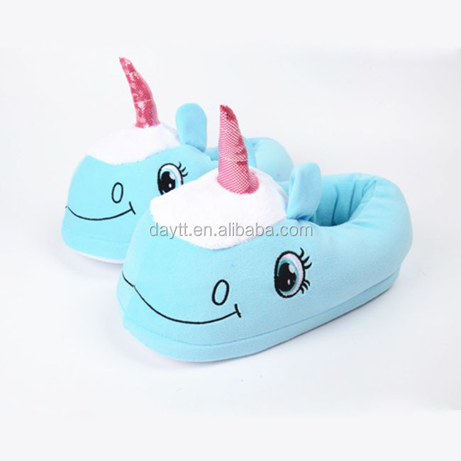 "Popular shoe 11"" manufacturer new design unicorn plush animal <strong>slippers</strong>"