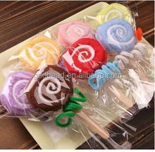 20*20cm candy color fiber cute lollipop towel cake gift baby shower birthday favor party lovely gifts