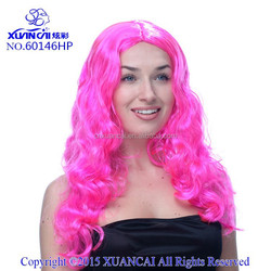 2015 New Arrival Wholesale cheap 100% polyester fiber hot pink long curly costume wig