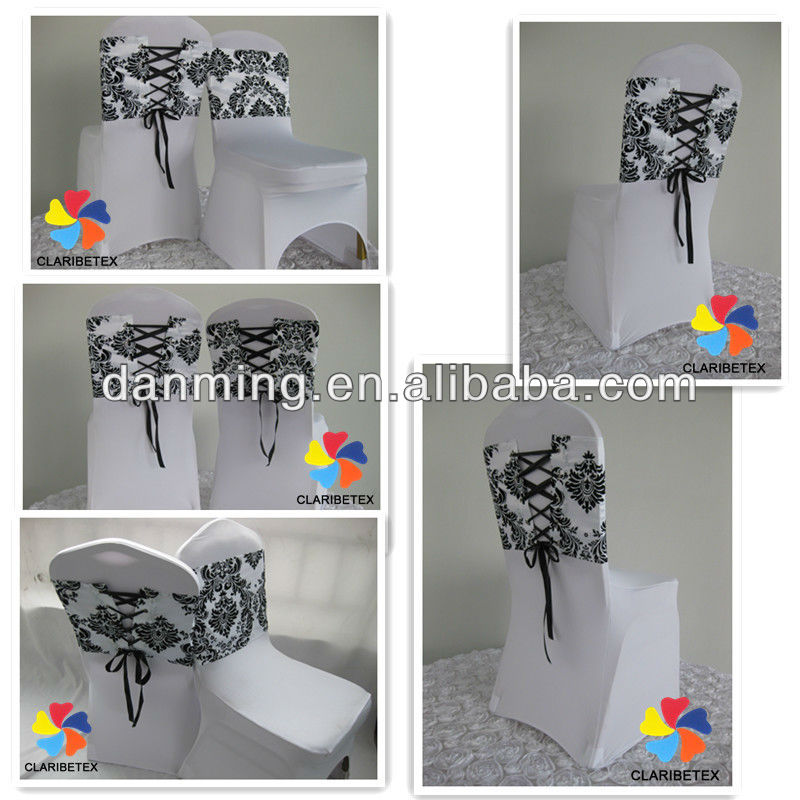 white and black flocking taffeta chair cover sash elegance damask corset chair sash