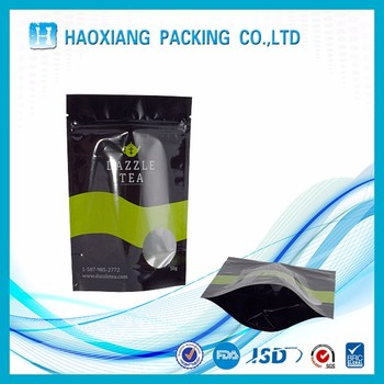 customized own logo resealable Macha stand up ziplock pouch