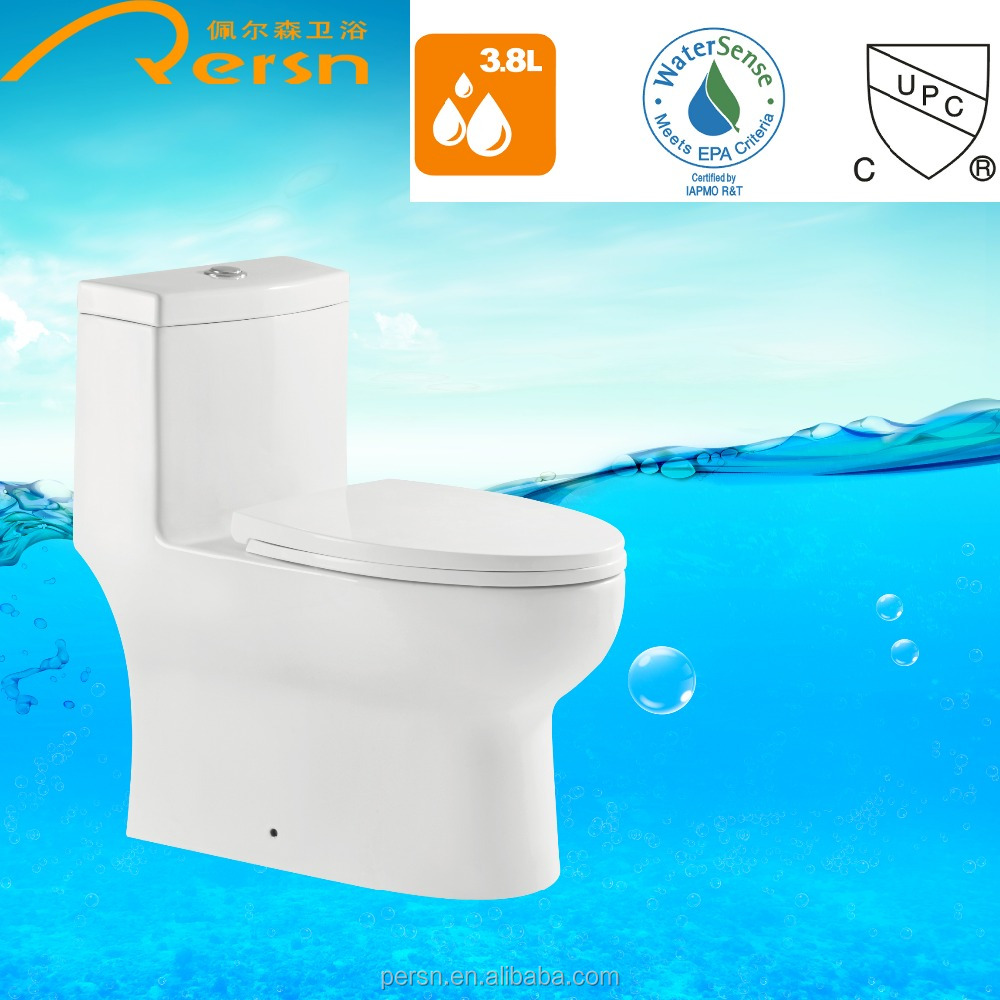 Water saving cUPC UPC watersense floor mounted one piece Toilet siphonic ceramic toilet chaozhou white s-trap GF-A003