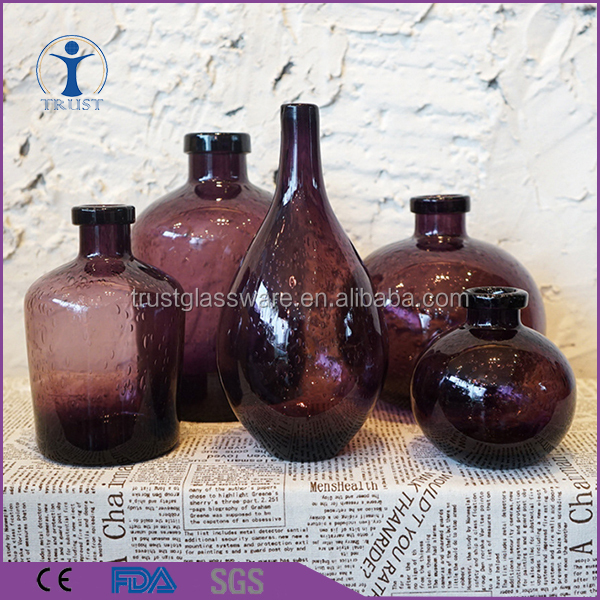 2016 new design sets cheap colored glass vase