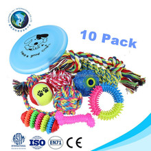 Tough cotton rope dog toy set 10 PACK Promotional gift cheap squeaky pet chew cat toy